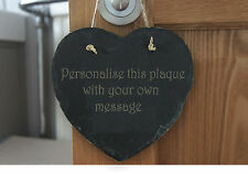 Personalised Custom Engraved Heart Slate Plaque Gift - Add Your Own Text To Besp