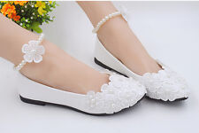 Hot White Ankle Beading Wedding Shoes Bridal Flats Low High Heel Pump Size 3-10