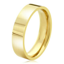 Men's 14K Yellow Gold 5mm Plain Flat Wedding Band Right Hand Ring / Gift Box
