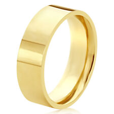 Men's 14K Yellow Gold 6mm Plain Flat Wedding Band Right Hand Ring / Gift Box