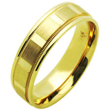 Men's 14K Yellow Gold 5mm Dia Cut Patterned Wedding Band Plain Ring / Gift Box