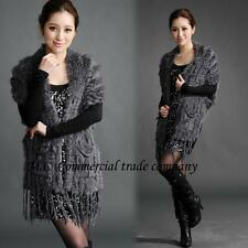 """Knitted Rabbit Fur Scarf Shawl Cape Wrap Stole Poncho Sweater 33.85"""" Thick Tops"""