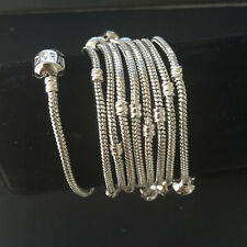 10Pcs 3mm Snake Chain European Charm beaded Bracelet Clasp