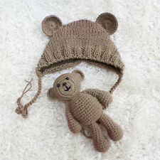 Newborn Baby Girl Boy Knitted Bear Doll+Hat Set Costume Photography Crochet Prop