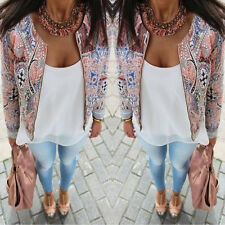 Stylish Womens Long Sleeve Floral Casual Blazer Suit Casual Jacket Coat Outwear