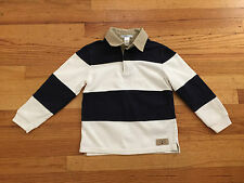 JANIE AND JACK SIZE 5 BOYS NAVY BLUE AND WHITE STRIPED LONG SLEEVE POLO SHIRT