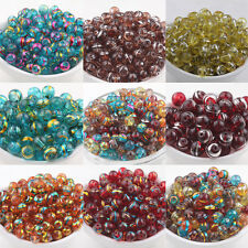 Mixed Round Spun Silver&Golden Plated Glass Loose Spacers Charm Beads 6 8mm