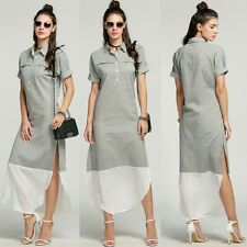 New Fashion Women Lapel Batwing Sleeve Side Slit Maxi Long Striped Shirt Dress