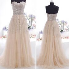 Women New Sexy Strapless Sequins Cocktail Party Ball Gown Evening Long Dress