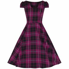 Purple Tartan Check Rockabilly Cocktail 50s Hogmanay Rockabilly Swing Dress