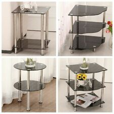 2 Or 3 Tiers Corner Side Table Black Tempered Glass Shelves Stainless Steel Leg