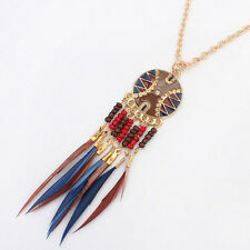 Women's Round Disc Bead Tassel Alloy Pendant Chain Collar Necklace High Quality