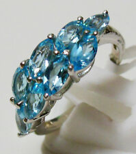 Pure 925 Solid Sterling Silver Genuine Blue Topaz Ring Size 7 (US)