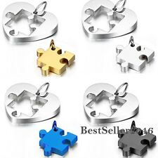 His and Hers Stainless Steel Puzzle Heart Jigsaw Love Couple Pendant Necklaces
