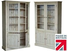 Solid Pine Cupboard, 172cm Tall Curio Glazed Display Cabinet Shelving Unit