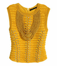 Balmain H&M Braided Rope Top with Embroidery Yellow Gold Size UK 14 EU 40