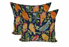"""Set of 2 - 22"""" Square Zipper Pillow Covers In / Outdoor Blue Red Garden Birds"""