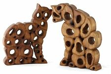 Wooden Cat Ornament Sculpture Hand carved Acacia wood. Holey cat 2 Styles