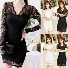 Women Sexy Mini Dress Lace Bodycon Slim Short Deep V-neck Party Vintage Clubwear