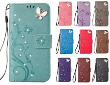 3D Fashion Embossed Bling Strass Wallet Flip PU Leather Case Cover For Samsung