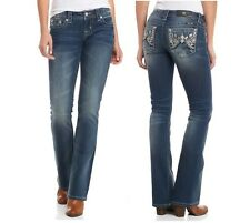 NEW MISS ME WOMEN'S STRETCHY VINTAGE DENIM FEATHER CRYSTAL FLAP JEANS PANTS