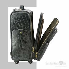 Cabin size Overnight Suitcase Real Leather Weekend Luggage Crocodile Trolley bag
