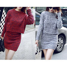 Fashion Women 2 Piece Winter Warm Long Sleeve Knit Sweater Tops Slim  Dress