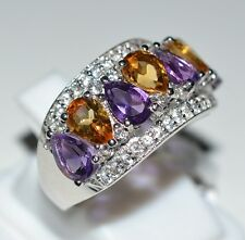 Pure 925 Solid Sterling Silver Amethyst, Citrine, White Topaz Ring Size 7 US
