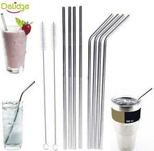 4PCS Stainless Steel Metal Drinking Straw Straws with 1 Cleaner Brush Kit