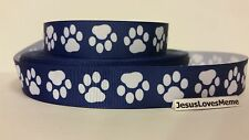 """Grosgrain Ribbon, White Paw Prints on Navy Blue, Dogs Animals, Rescue, 7/8"""""""