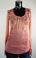 NEW MISS ME SHIRT S-M-L JMT1143 CORAL RED TOP W/DETAIL AT BOTH SLEEVES   *