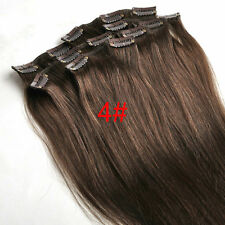 7pcs 75g 100%Real Human Hair Clip In Hair Extensions Any Length Chocolate Brown