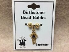 September Baby Birthstone Bead Babies Necklace Pendant Gold Tone Triangle Body