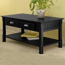 Winsome Timber Solid Wood Coffee Table Wood Transitional in Black
