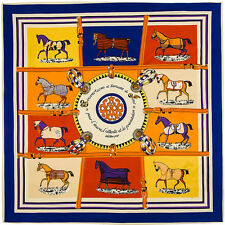 """Women's Fashion Twill Silk Square Scarf with Ten Horses Pattern 39""""*39"""""""