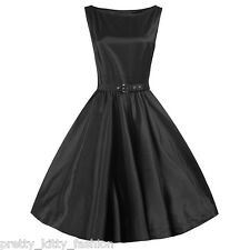 PRETTY KITTY ROCKABILLY BLACK SATIN VINTAGE SWING PROM EVENING 1950s DRESS 8-22