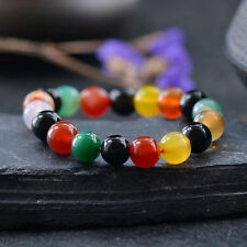 Multicolor Natural Round Agate Gemstone Beads Stone Bangle Stretchable Bracelet