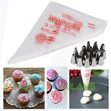 100x Bags + 15pcs Icing Piping Nozzles Tips Cake Sugarcraft Fondant Pastry Decor