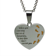 Footprints in the Sand Stainless Steel Necklace Two-tone Heart Beautiful Gift