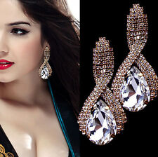 1 Pair Rhinestone Crystal Teardrop Earrings Gold Plated Dangle Women Ear Studs