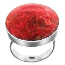 """1"""" ROUND RED SPONGE CORAL 925 STERLING SILVER ADJUSTABLE ring"""