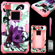 Shockproof Rubber Matte Hard Case Cover for Apple iPhone 4 4S + Screen Protector