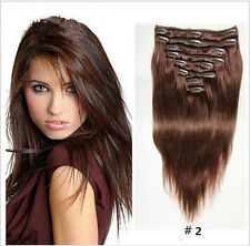 7 pcs set #2 Brown Straight Clip in Remy Hair Human Hair Extensions US STOCK