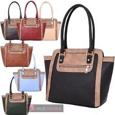 LADIES NEW WING DESIGN CONTRAST EDGE FAUX LEATHER SHOPPER TOTE BAG