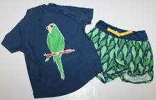 baby Gap NWT Boy's 0 3 Mo. Rash Guard Swim Set Parrot Trunks + Rashguard Top