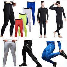 Mens Full Length Athletic Pants Legging Compression Skinny Baselayer All Sports