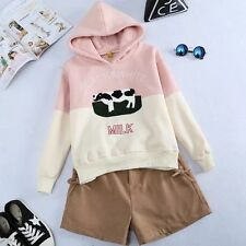 Embroidery Letter Cow milk Color Matching Coat Sweater Hoodie Jersey Sport Shirt