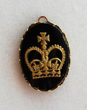 VINTAGE INTAGLIO GLASS PENDANT CROWN OVAL • 25x18mm • BLACK GOLD or SILVER