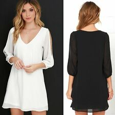 Fashion Women Sexy V-neck Loose Casual Lady Cocktail Clubbing Party Mini Dress