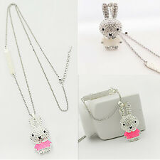 1Pcs Chain Pop Pendant Rhinestone Necklace Girls Enamel Crystal Rabbit Jewelry